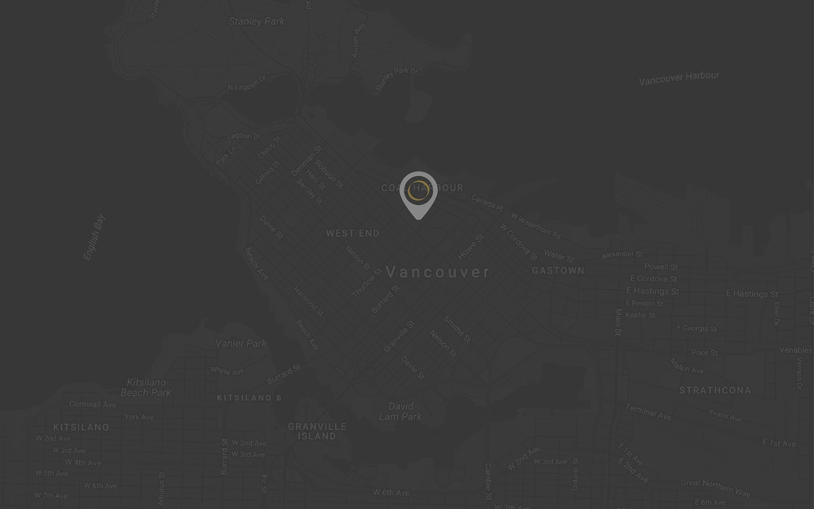 CONTACT US – map of Vancouver city with a bullet map pointing the address of Solus Trust